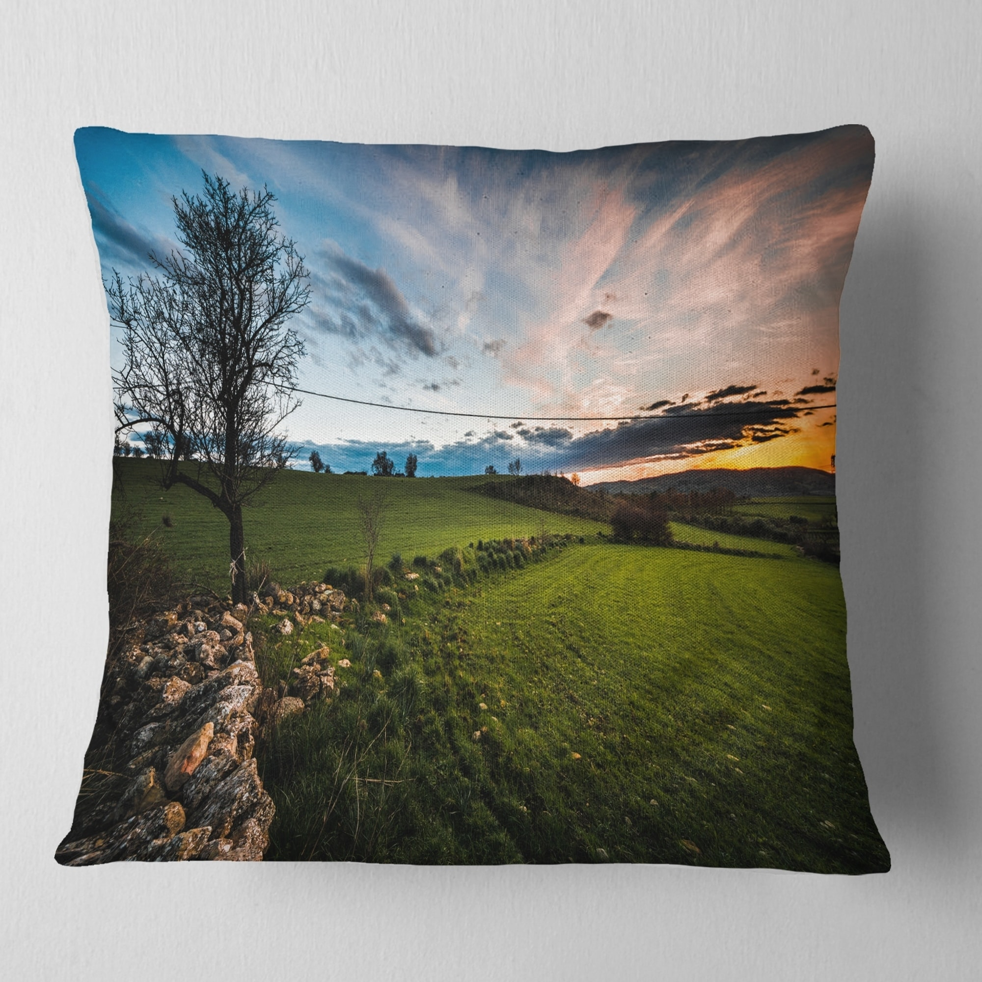 Insert Side Sofa Throw Pillow X 16 In Designart Cu14307 16 16 Beautiful Green Meadow In Sardinia Landscape Printed Cushion Cover For Living Room Home Kitchen Bedding