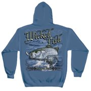 Wicked Fish Striped Bass Hooded Sweatshirt by , Indigo Blue, 2XL