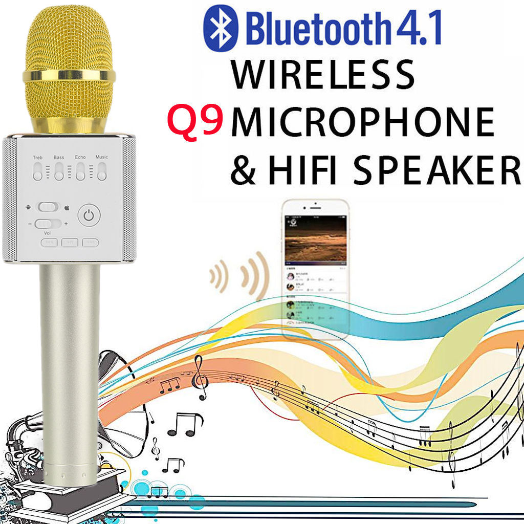 Hot Handheld Microphone for IOS for android for Home Family KTV Karaoke Great Gift Gold Q9 Super Bass Wireless Bluetooth 4.0 Mobile Phone Karaoke Microphone Handheld, Gold