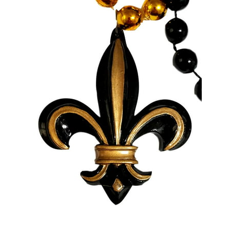 Black Gold 3D Fleur De Lis Mardi Gras Beads Party Favor (Cheap Mardi Gras Beads In Bulk)