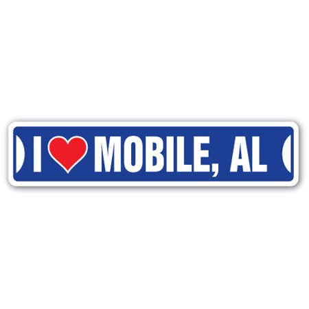 I LOVE MOBILE, ALABAMA Street Sign al city state us wall road décor
