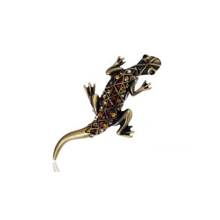 Topaz Crystal Rhinestone Southwest Gecko Lizard Adjustable Costume Jewelry Ring