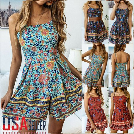 The Noble Collection Summer Women Sexy Boho Playsuit Jumpsuit Rompers Beach Casual Mini Shorts Dress](Rosie The Riveter Jumpsuit)