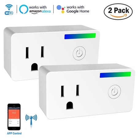 2 Pack Wi-Fi Smart Plug, Mini Socket Outlet with Energy Monitoring, Compatible with Alexa and Google Home Assistant, Remote APP Control Power Switch Smart Timer Plug, No Hub