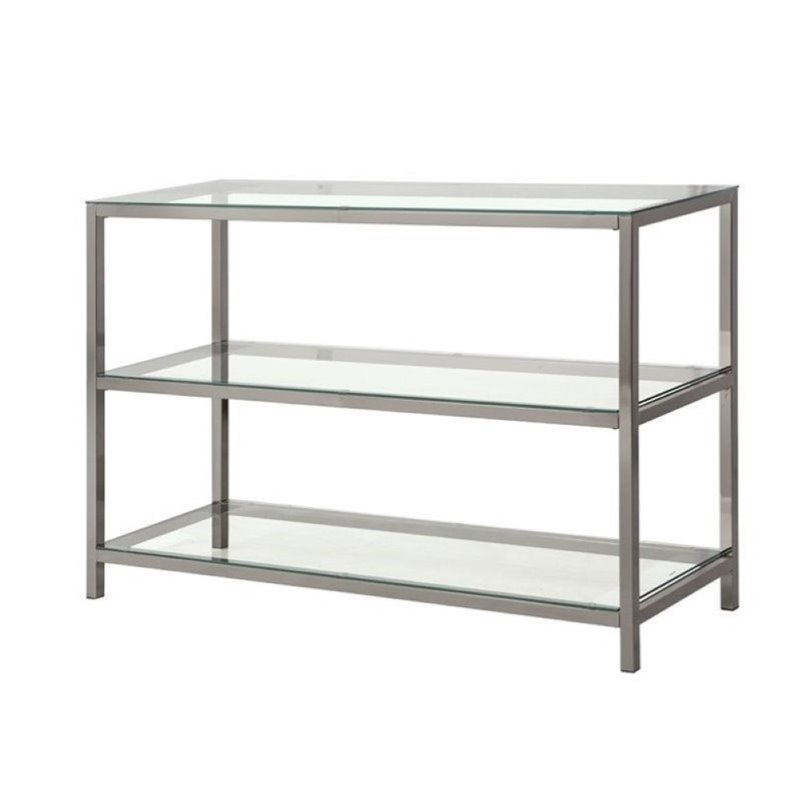 Bowery Hill Metal and Glass Console Table in Black Nickel