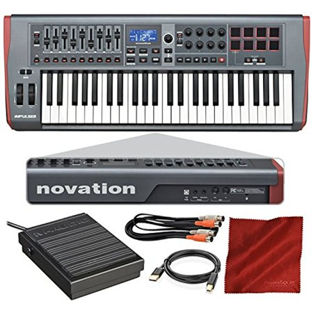 novation impulse 49 usb midi keyboard controller with sustain pedal cables f. Black Bedroom Furniture Sets. Home Design Ideas