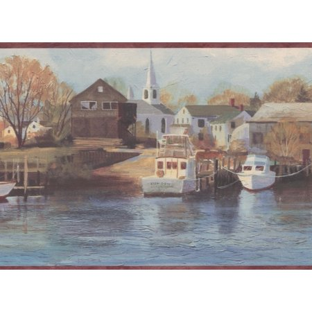 Sailboats Marina Yacht Club Church Village Life Burgundy Trim Wallpaper Border Retro Design, Roll 15' x 7''