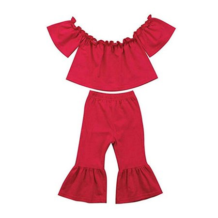 Flare Set - Infant Baby Girl Off-Shoulder T-Shirt Top + Long Flare Pants Ruffle Outfit Set