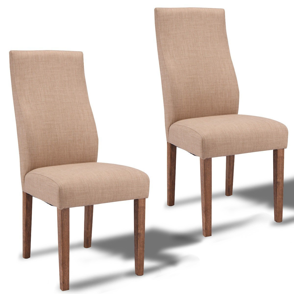 set of 2 fabric upholstered high back armless dining chairs beige. Black Bedroom Furniture Sets. Home Design Ideas