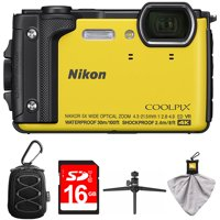 Nikon COOLPIX W300 16MP 4k Ultra HD Waterproof Digital Camera Yellow (26525) with Camera Case with Carabiner, 16GB Memory Card, Mini Table-top Tripod with Clear Case & Microfiber Cleaning Cloth