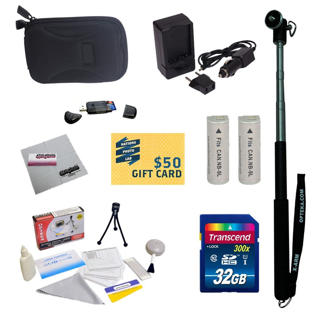 Ultimate Kit for Canon PowerShot Elph 530 520 N Digital Camera with 2 NB-9L Battery + Charger + Mini tripod + 32GB Micro SD Memory Card + Slim Carrying Case + Cleaning Kit + More