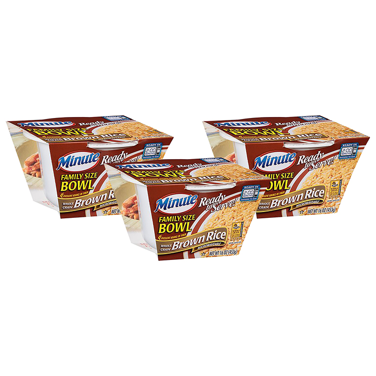 (3 Pack) Minute Whole Grain Brown Rice Ready To Serve Family Size Bowl, 16 oz