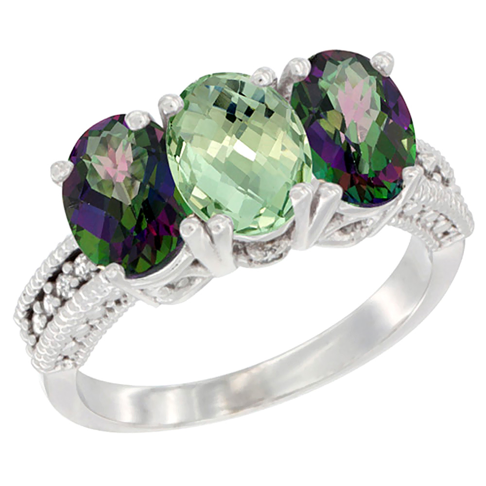 14K White Gold Natural Green Amethyst & Mystic Topaz Ring 3-Stone 7x5 mm Oval Diamond Accent, sizes 5 - 10