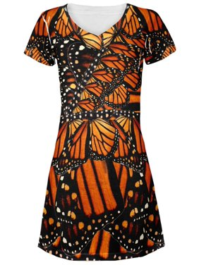 Monarch Butterfly Costume All Over Juniors V-Neck Dress