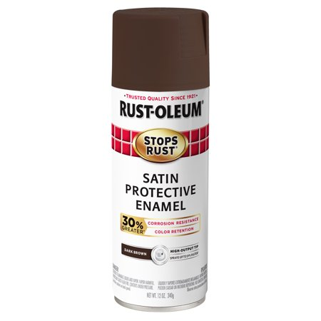 Rust-Oleum Stops Rust Advanced Satin Dark Brown Protective Enamel Spray Paint, 12