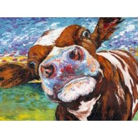 Curious Cow I Country Farmhouse Animal Print Wall Art By Carolee Vitaletti