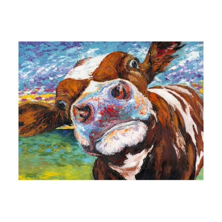 Dkny Animal Print - Curious Cow I Country Farmhouse Animal Print Wall Art By Carolee Vitaletti