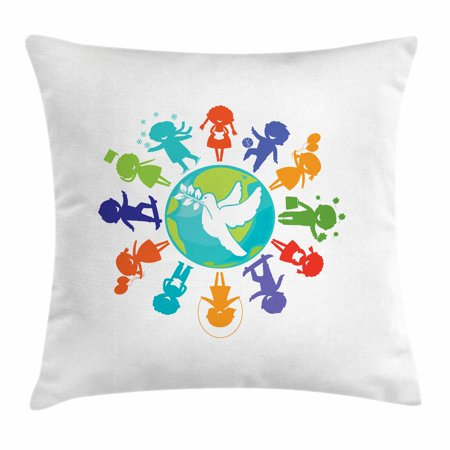 Kids Silhouette (Youth Throw Pillow Cushion Cover, Cute Children Silhouettes around the World with Pigeon Symbol of Peace Earth Planet, Decorative Square Accent Pillow Case, 16 X 16 Inches, Multicolor, by)