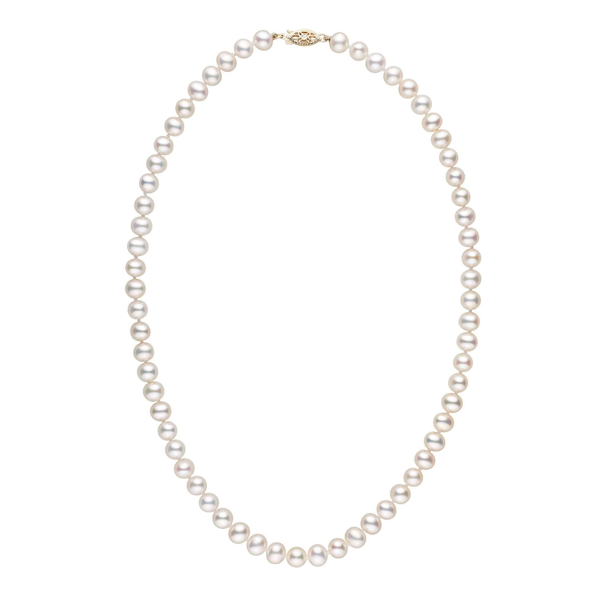 6.5-7.0 mm 18 Inch AA+ Metallic White Freshwater Pearl Necklace by Pearl Paradise