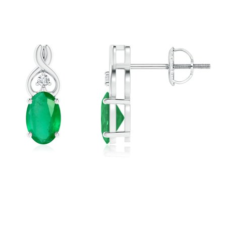 May Birthstone Earrings - Oval Emerald Inverted Heart Earrings with Diamond in 14K White Gold (6x4mm Emerald) - SE1176ED-WG-A-6x4