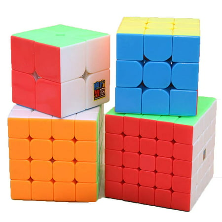 GLiving 4Pcs Speed Magic Rubik Cube 6 Color Puzzles Educational Special Toys Brain Teaser Gift Box 4 in 1 Set (2x2 3x3 4x4 5x5)  Develop Brain and Logic Thinking Ability Best