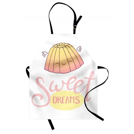 Sweet Dreams Apron Cute Sleeping Jelly with Wings Design Hand Lettering Calligraphy Dessert Theme, Unisex Kitchen Bib Apron with Adjustable Neck for Cooking Baking Gardening, Cream Pink, by Ambesonne