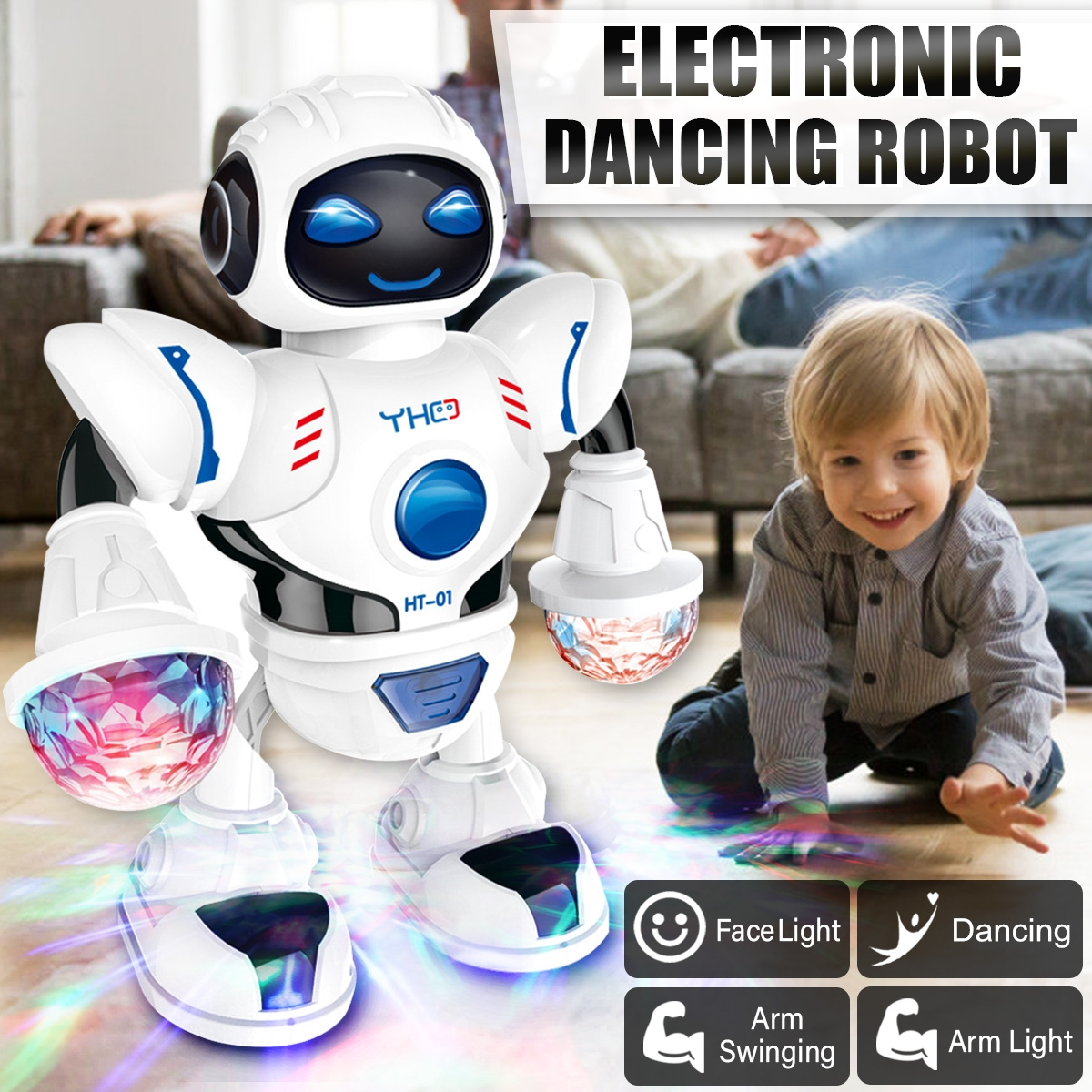Grtsunsea Electronic Cool Light Astronaut Robot Dancing Walking Music Sound Kids Baby Educational Toy Birthday Gift