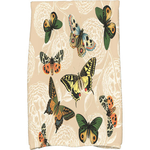 """Simply Daisy 16"""" x 25"""" Antique Butterflies and Flowers Animal Print Kitchen... by E By Design"""
