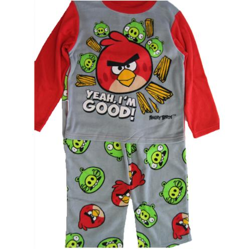 Angry Birds Boys Grey Red Character Printed 2 Pc Pajama Set 8-10