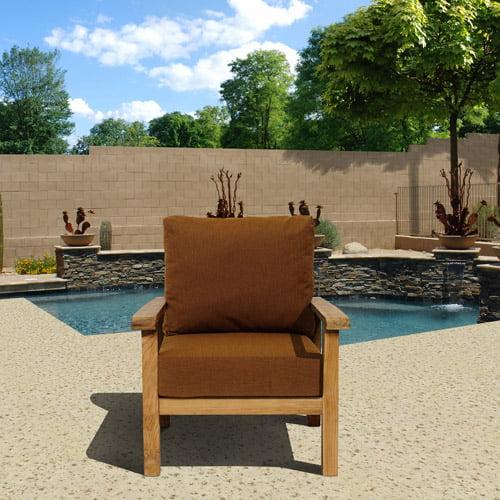 Gilli Outdoor Teak Wood Armchair with Sunbrella Cushions, Brown