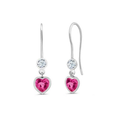 Pink Sapphire Single (1.48 Ct Heart Shape Pink Created Sapphire White Topaz 925 Silver Earrings )
