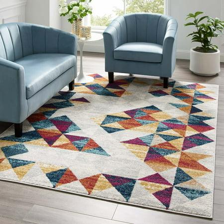 Entourage Elettra Distressed Geometric Triangle Mosaic 5x8 Area Rug in Multicolored ()