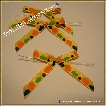 25 Pcs Satin Pre-tied Ribbon Bows for halloween - Orange Pumpkins - Halloween Boutique Bows