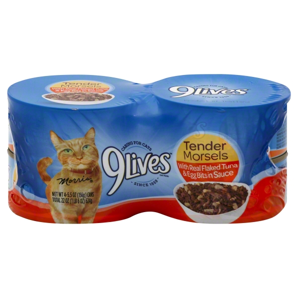 9Lives Tender Morsels With Real Flaked Tuna & Egg Bits In Sauce Wet Cat Food, 4 5.5-Ounce Cans (Pack of 6) by Big Heart Pet Brands