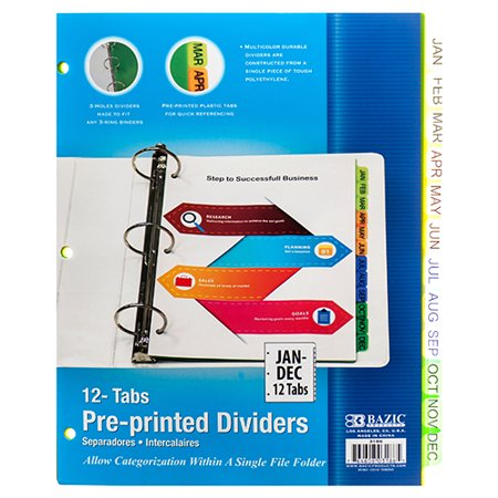 New 362860 Binder Divider 3Ring 12 Tabs Jan Thru Dec (24-Pack) X Others Cheap Wholesale Discount Bulk Seasonal X Others X Others Expanding File Jan Dec Tabs