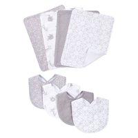 Gray and White Circles 8 Piece Bib and Burp Cloth Set