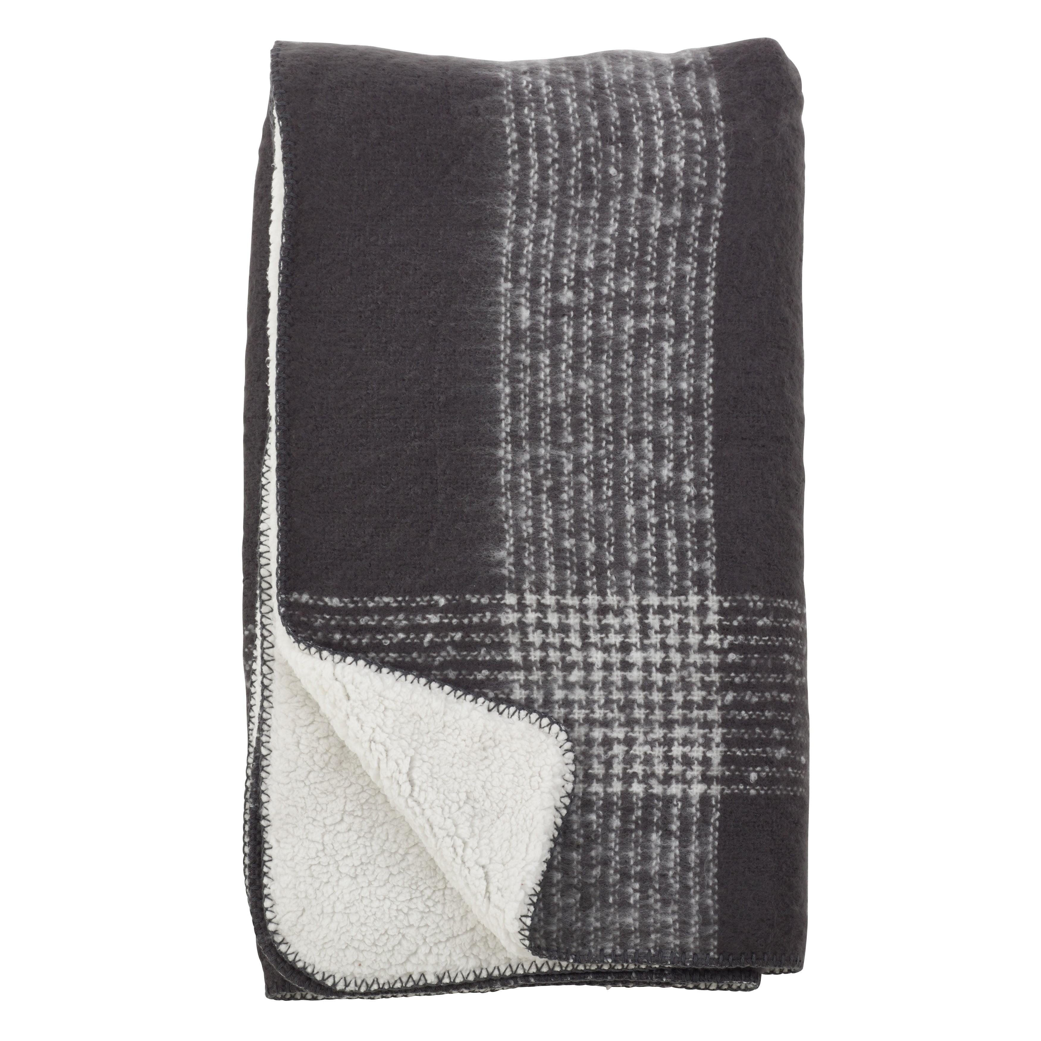 Saro Lifestyle Faux Mohair Plaid Design Sherpa Reversible Throw Grey