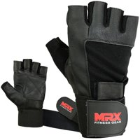 MRX Weight Lifting Gloves Leather  Workout Glove with Long Wrist Strap Black