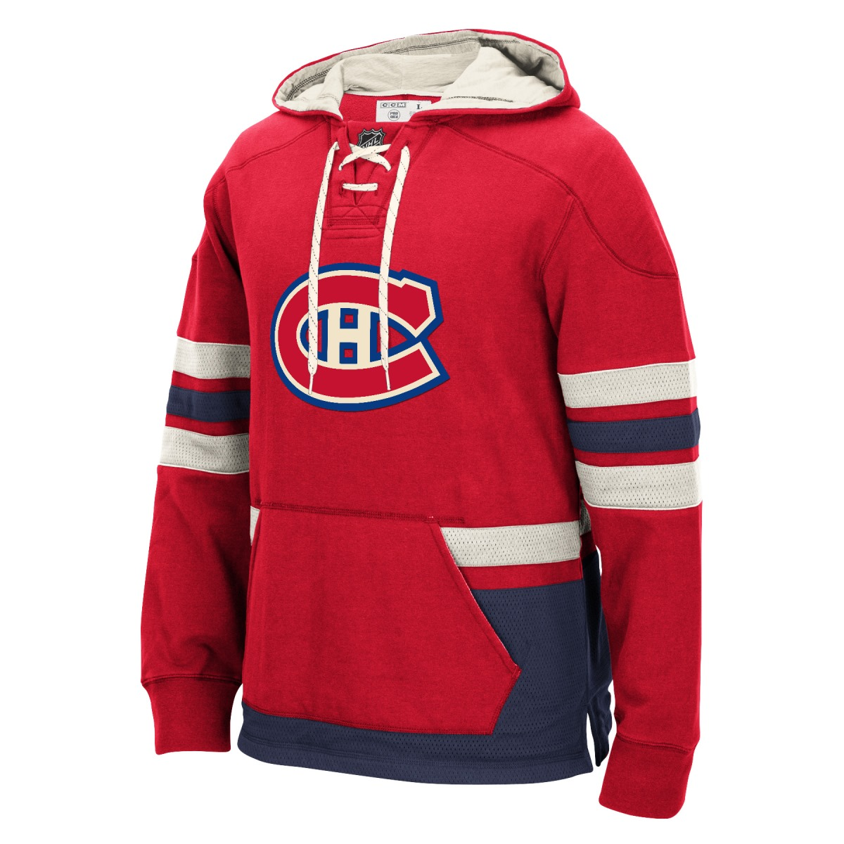 "Montreal Canadiens Men's NHL CCM ""Lace Em Up"" Pullover Hooded Sweatshirt - Red"