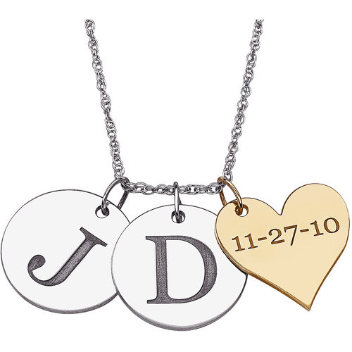 Personalized Couple's Sterling Silver Initial and Date Two-tone Charms Pendant, 20""
