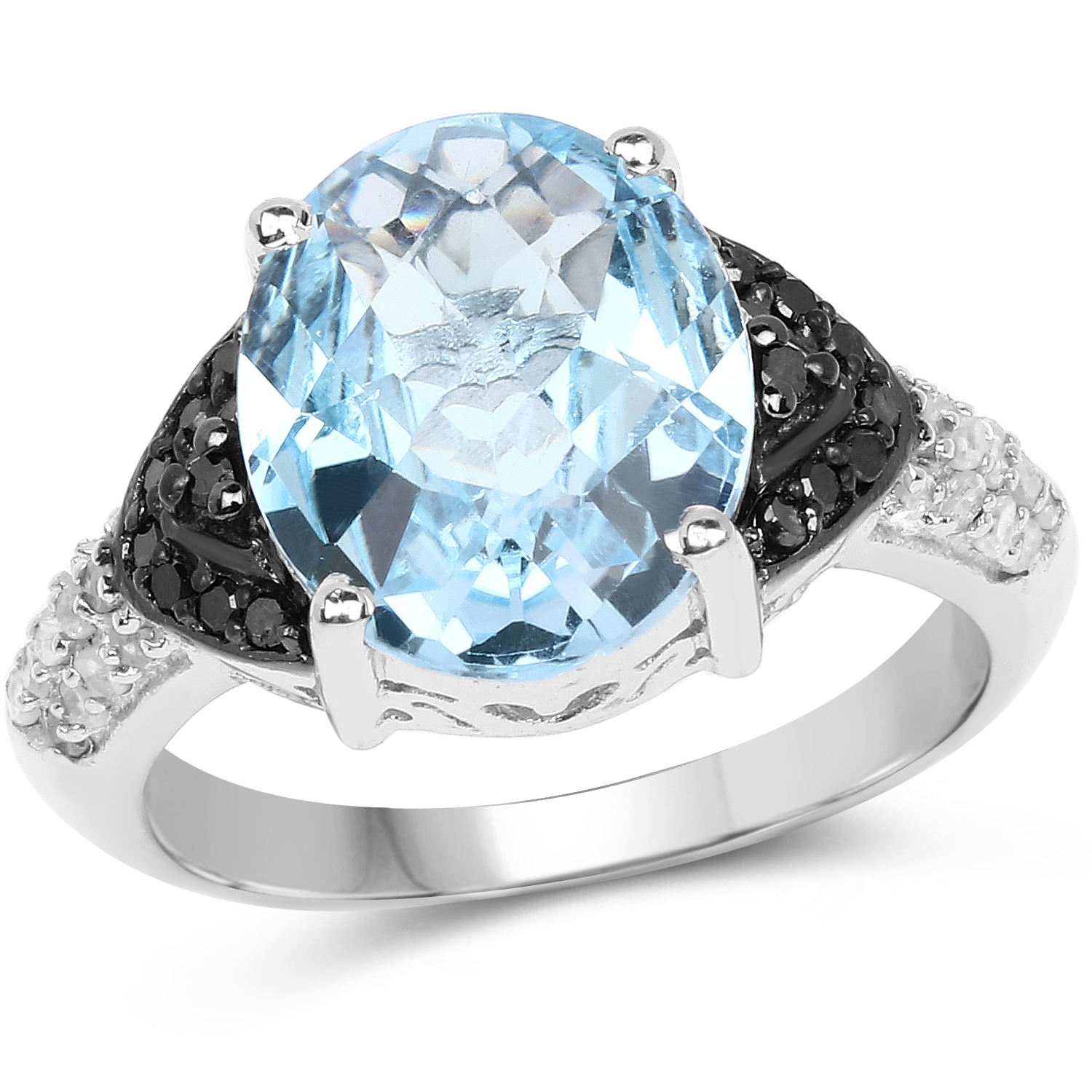Genuine Swiss Blue Topaz, Black Diamond and White Topaz Ring in Sterling Silver - Size 9.00