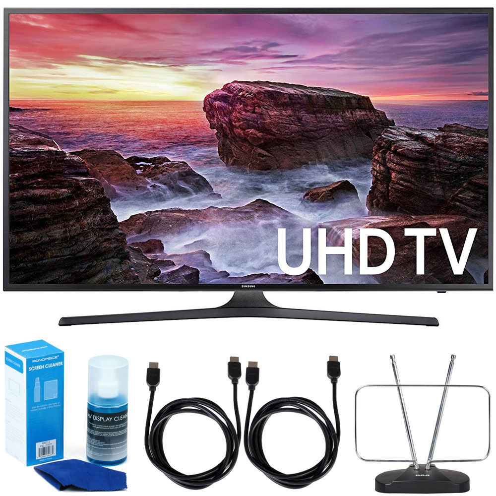 "Samsung UN55MU6290FXZA 54.6"" LED 4K UHD Smart TV (2017 Model) Bundle with TV, 6ft High Speed HDMI Cable x 2, HDTV and FM Antenna, and Universal Screen Cleaner"