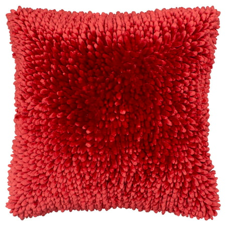 Butter Chenille 18 in. x 18 in. Decorative Pillow, Red ()