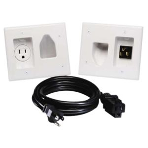Datacomm Electronics 45-0023-WH Recessed Pro-Power Kit with Straight Blade Inlet, White