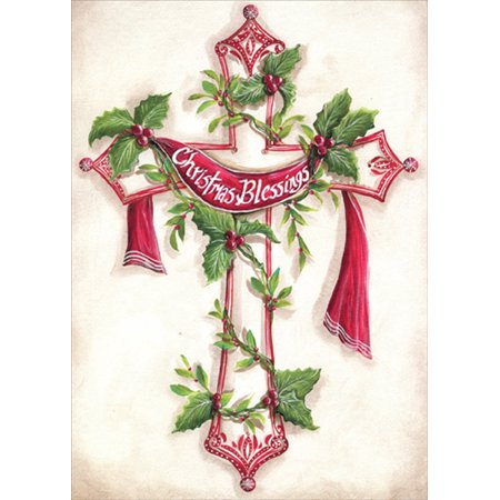 LPG Greetings Christmas Blessings Cross : Kate McRostie Box of 18 Religious Christmas Cards - Religious Christmas Card Sayings