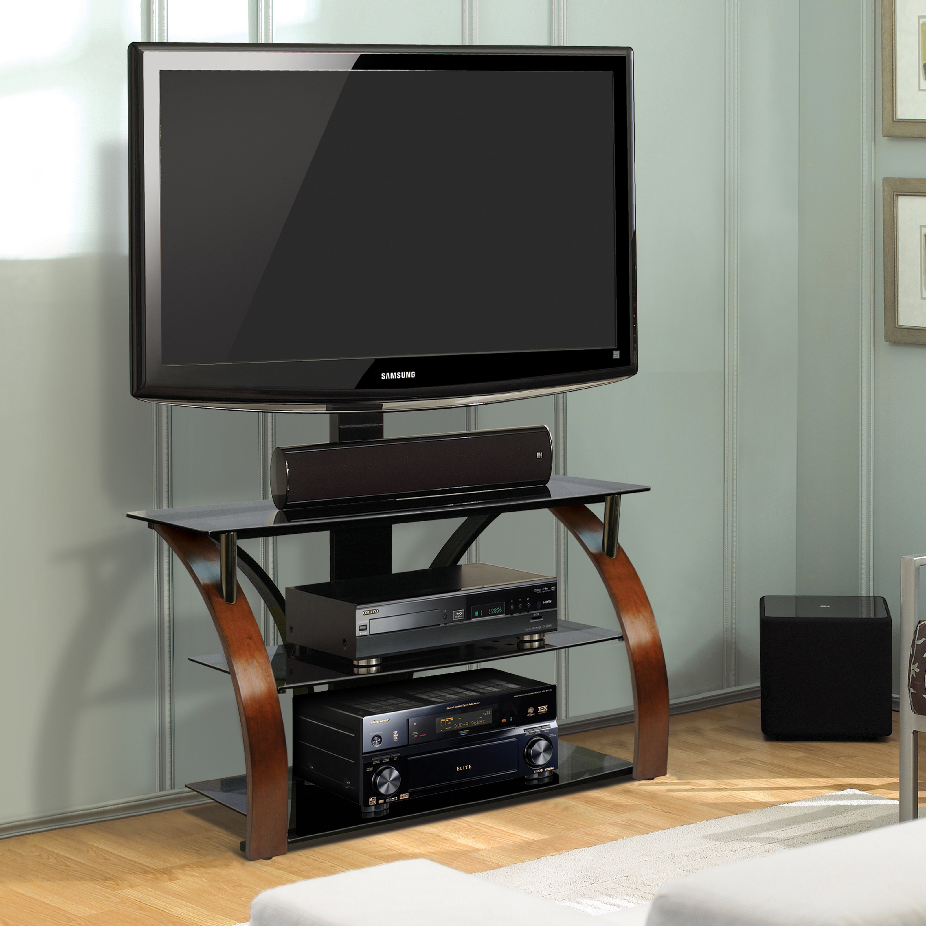 BellO Triple Play 44 in. Universal Flat Panel TV Stand - Vibrant Espresso/Black