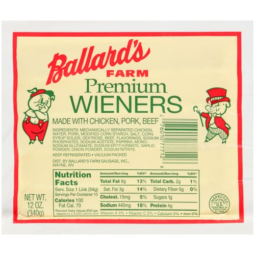 Ballard's Farm Premium Wieners, 10 count, 12 oz