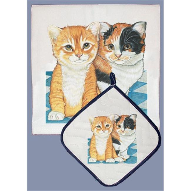 Pipsqueak Productions DP939 Cat Dish Towel And Pot Holder Set