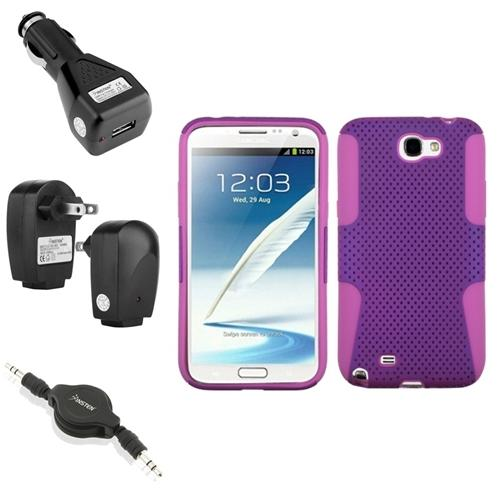 Insten Pink/Purple Hybrid Case 2x Charger Audio Cable For Samsung Galaxy Note 2 II
