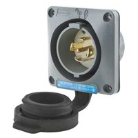 HUBBELL WIRING DEVICE-KELLEMS Wtertght Flanged Lcking Inlet,Industrial HBL2815SW